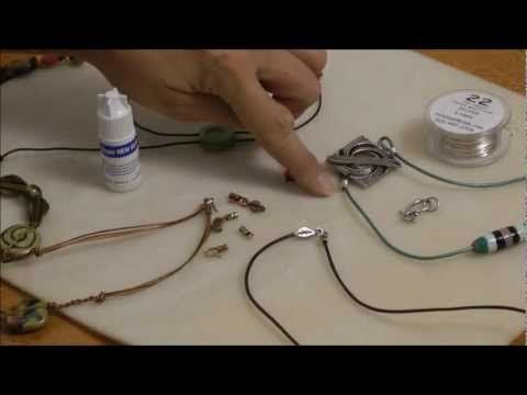 3 Simple Ways to Finish Leather Cord Necklace Tutorial - Beginner AntelopeBeads.com - YouTube