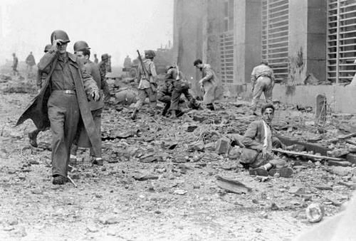 when the Germans retreated from Naples they left a series of hidden time bombs in various buildings throughout the city which later exploded...