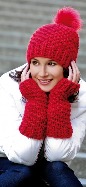 Easy Chunky Hat and Arm Warmers Free Knitting Pattern