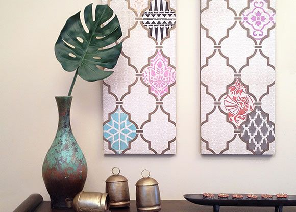 Learn how to create your own unique artwork. This DIY decoupage wall art tutorial shows how to combine decoupage with scrapbook paper, paint and stencils.