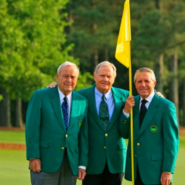 Gary Player, Jack Nicklaus and Arnold Palmer. #golflegends!  The green jackets remind me of someone I love dearly...