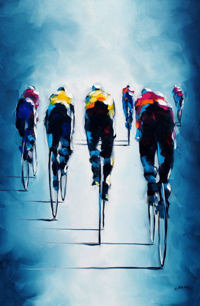 Harold Braul Peloton Series Oil on Canvas 30x24