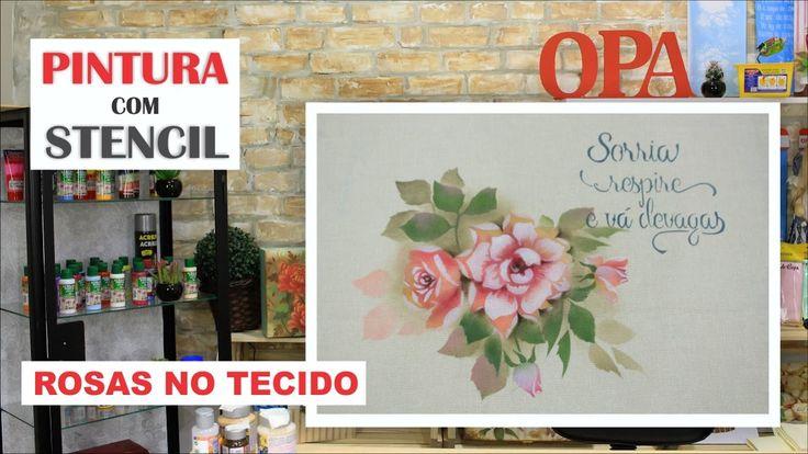 PROJETO | PINTURA COM STENCIL - ROSAS NO TECIDO  | 22.03.17 | MAYUMI TAK...