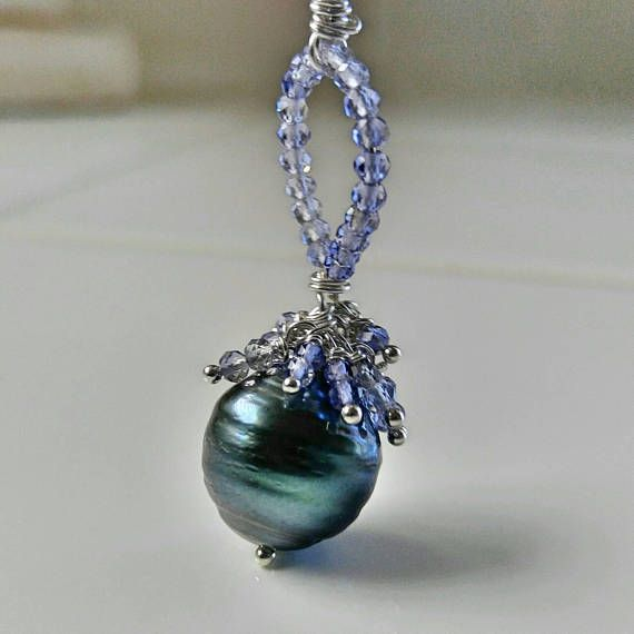 Large black Tahitian pearl and Tanzanite necklace. Silvery black pearl clustered with Tanzanite gemstones on a sterling silver chain for her by fapianojewels. Explore more products on http://fapianojewels.etsy.com