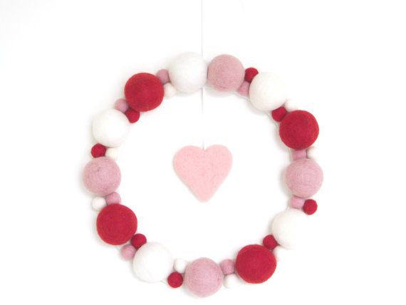 Felted Valentine Wreath Needle Felted Wool Felt Balls by Fairyfolk (should be able to make this....I hope)