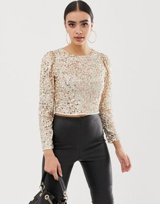 17320fd7cc1c DESIGN long sleeve top with sequin embellishment in 2019 | Style ...