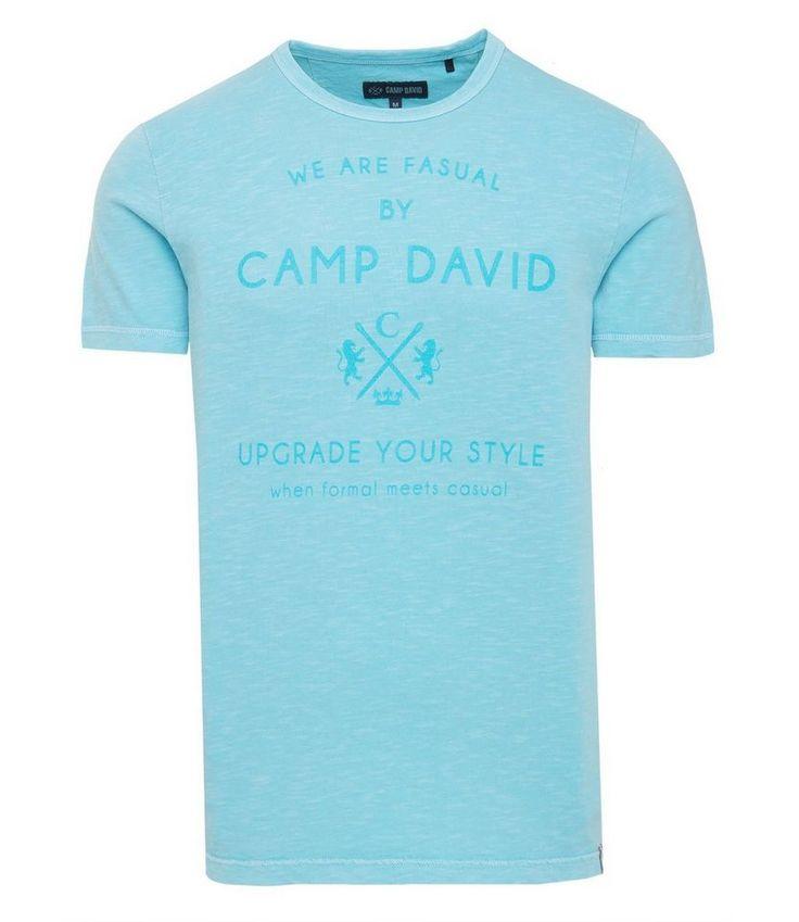 CAMP DAVID T-Shirt für 29,95€. Locker geschnitten, Rundhalsausschnitt mit Rippblende, Overlocknähte an den Ärmeln, Rückenlänge in Gr. M ca. 74 cm bei OTTO