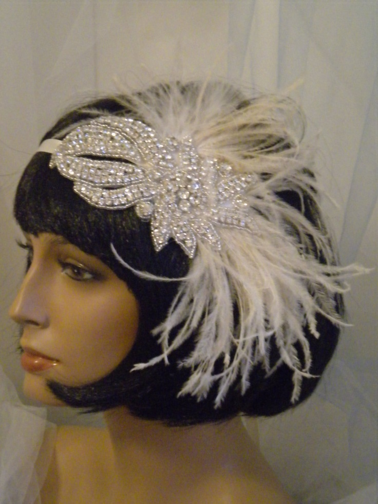 1920s bridal Headpiece, Flapper Headband, Bride, Gatsby, Silver, Crystal, Rhinestones, Ivory, Feathers, Bridal  no. 28. $68.00, via Etsy.
