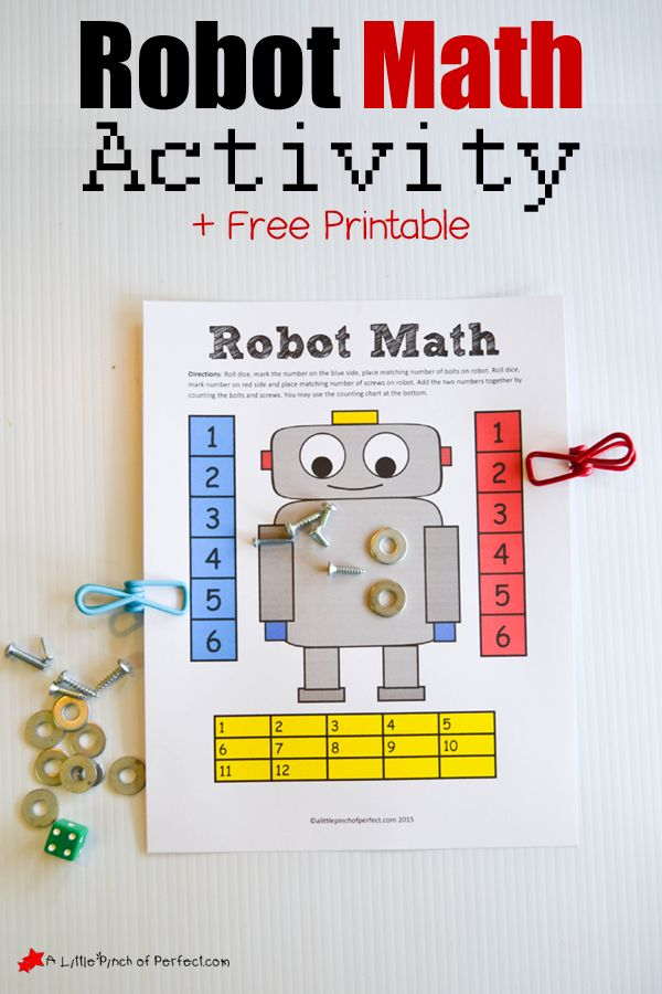 Robot Themed Math Counting and Adding Dice Game (Free Printable)| A Little Pinch of Perfect