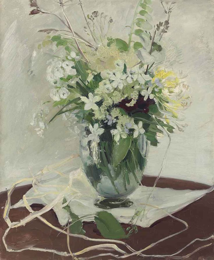 William Nicholson (English, 1872-1949), Just Flowers, c.1928. Oil on panel, 17½ x 14½ in.