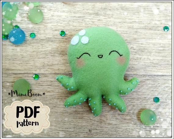 Octopus pattern Felt ornament octopus easy pattern PDF Ocean pattern