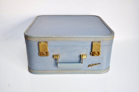 Powder Blue Square Lady Baltimore Suitcase by thewhitepepper