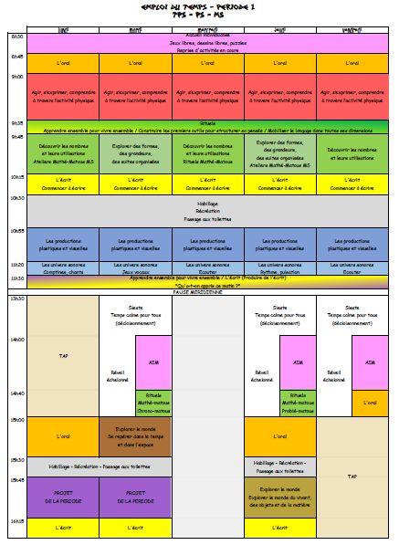 Proposition d'un emploi du temps organisé par domaines