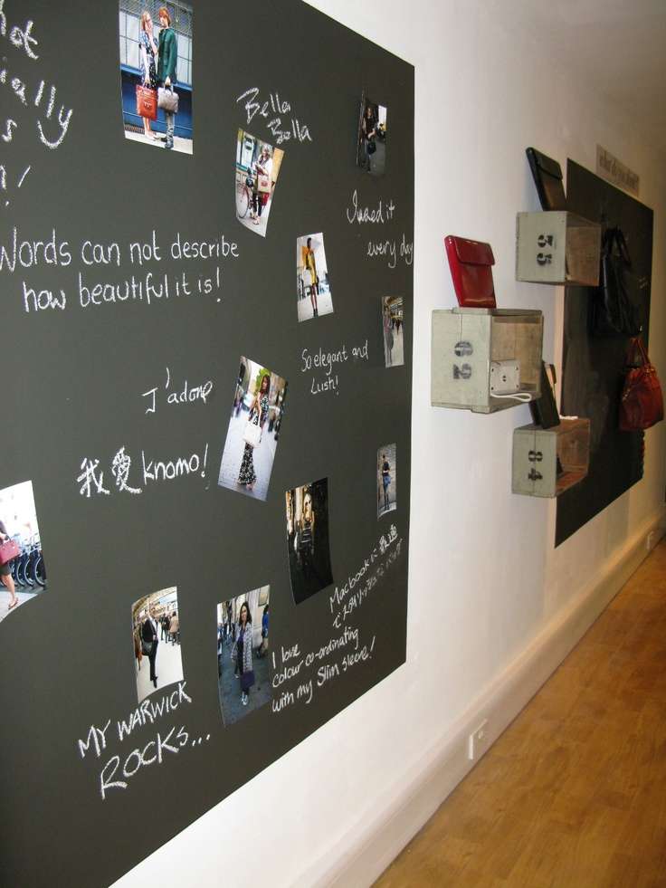 Knomo bags showroom wall of comments