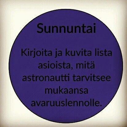 Astronautin varustelista, äidinkieli, kirjoittaminen