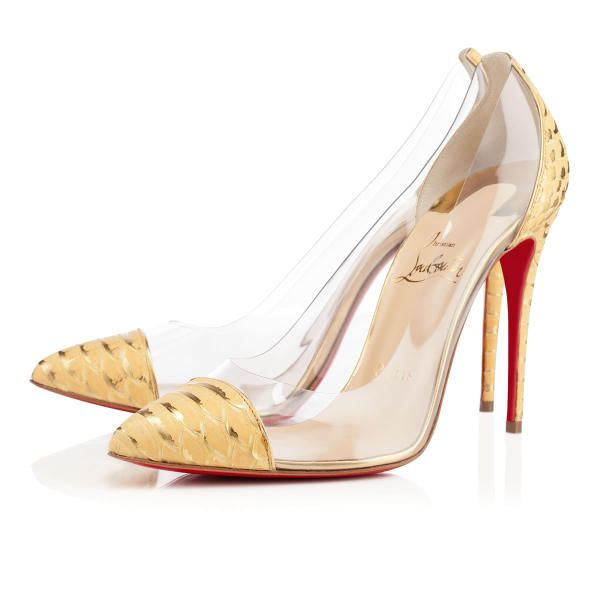 Christian Louboutin Debout 100mm Yellow Python Mimosa Women Special-Occasion