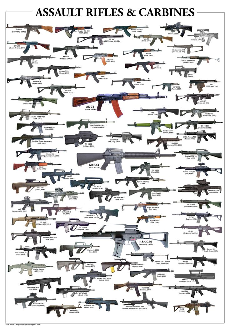 Assault rifles & carbines.  EVERY SINGLE ONE OF THESE SHOULD BE BANNED. Military only!!!!!