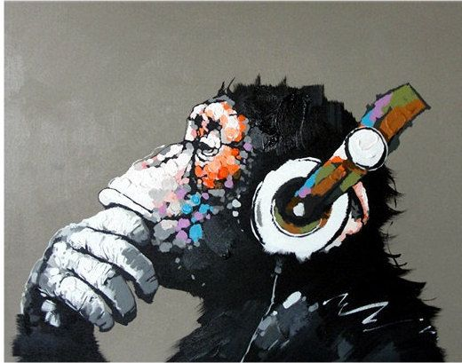 CHIMP CHILLIN' WITH THE MUSIC - HANDMADE OIL PAINTING ON CANVAS - WALL ART
