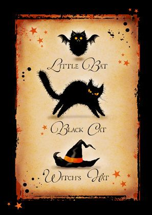 halloween greetings card Little Bat. Black Cat. Witch's Hat.