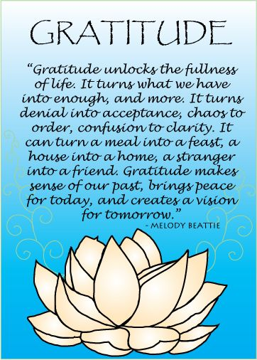 """5/6/2013 Quote: """"Gratitude unlocks the fullness of life. It turns what we have into enough, and more. It turns denial into acceptance, chaos to order, confusion to clarity. It can turn a meal into a feast, a house into a home, a stranger into a friend. Gratitude makes a sense of our past, brings peace for today, and creates a vision for tomorrow."""""""