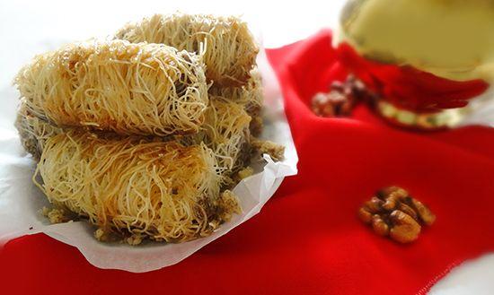 Турецкие сладости: кадаиф с орехами (Kadaif rolls with walnuts – Tel Kadayıf)
