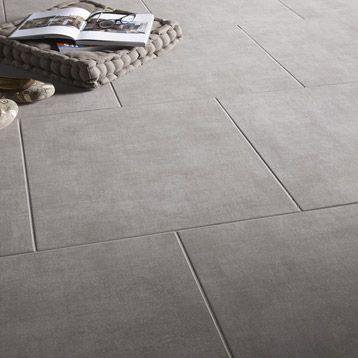 Carrelage int rieur b ton en gr s c rame gris 45 x 45 cm for Carrelage 45x90
