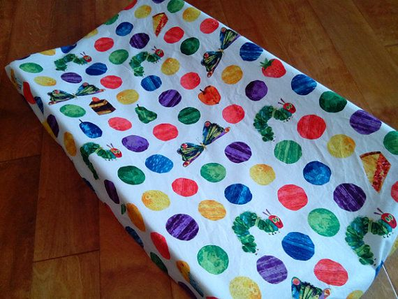 Hungry Caterpillar Changing Pad Cover by BixbyBasil on Etsy, $25.00