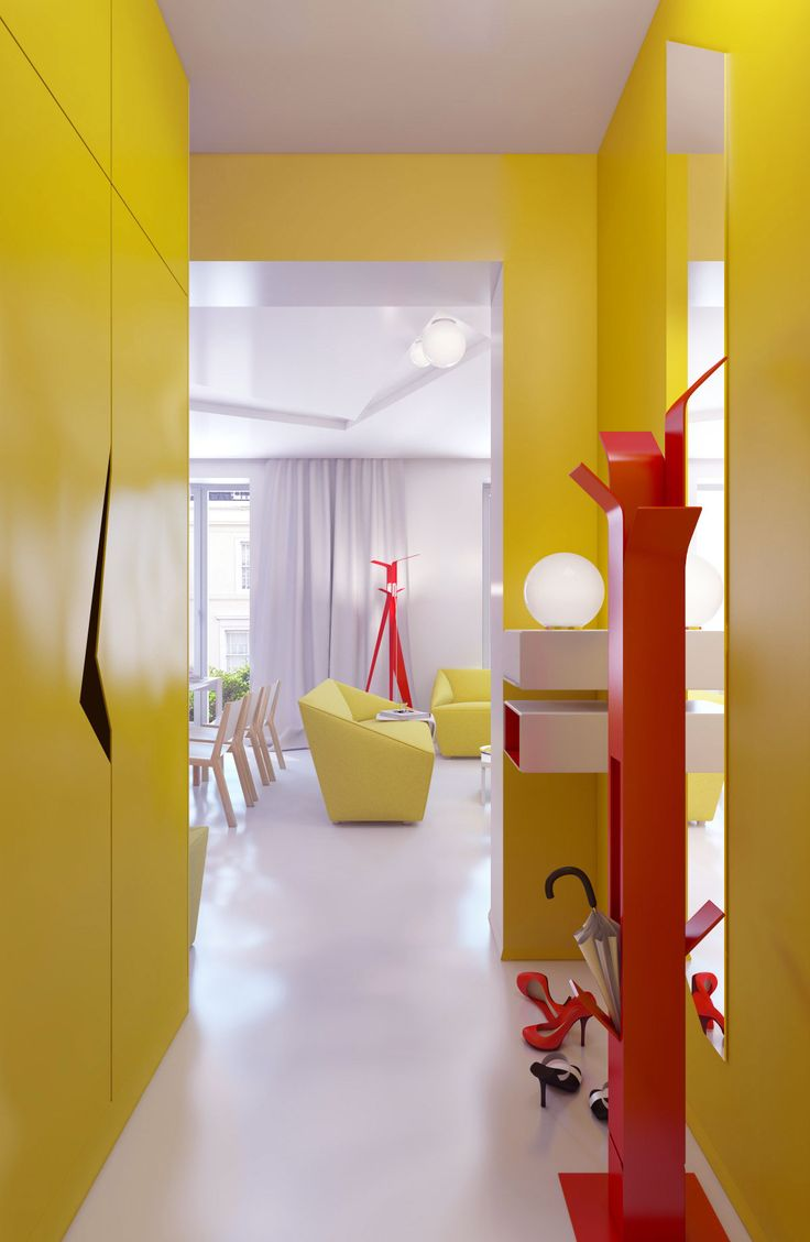 11 best hallways images on pinterest yellow hallway hallway vivacious colorful interior design of a small apartment design at home