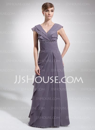 Mother of the Bride Dresses - $139.99 - A-Line/Princess V-neck Floor-Length Chiffon Mother of the Bride Dress With Ruffle (008006165) http://jjshouse.com/A-Line-Princess-V-Neck-Floor-Length-Chiffon-Mother-Of-The-Bride-Dress-With-Ruffle-008006165-g6165