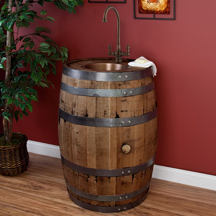 Warner Whiskey Barrel Bar Sink Set With Flat Bottom Extra Deep Copper Basin  And Faucet