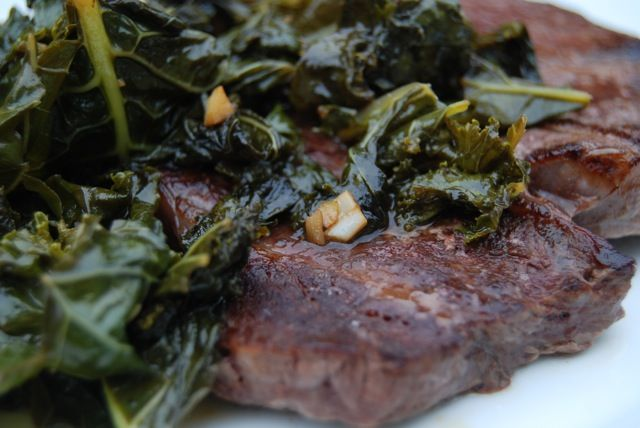 Seared Sirloin with Garlicky Greens