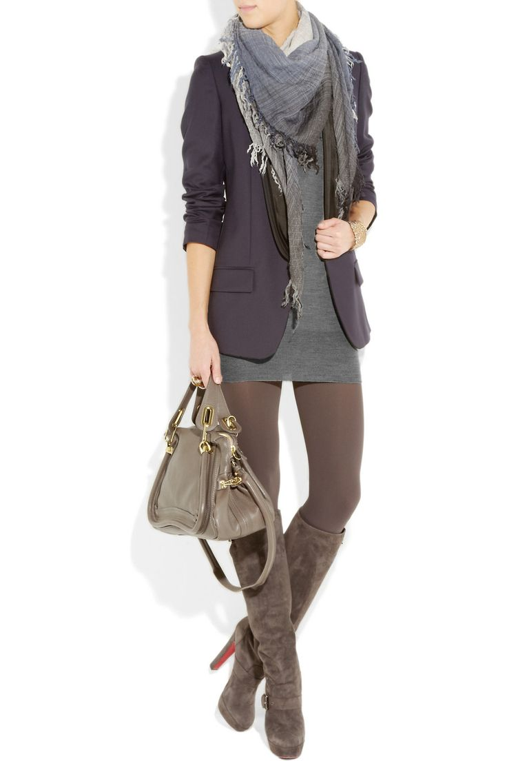.Minis Dresses, Style, Sweaters Dresses, Fall Outfits, Fall Winte, Blazers, Fall Fashion, Work Outfit, Boots