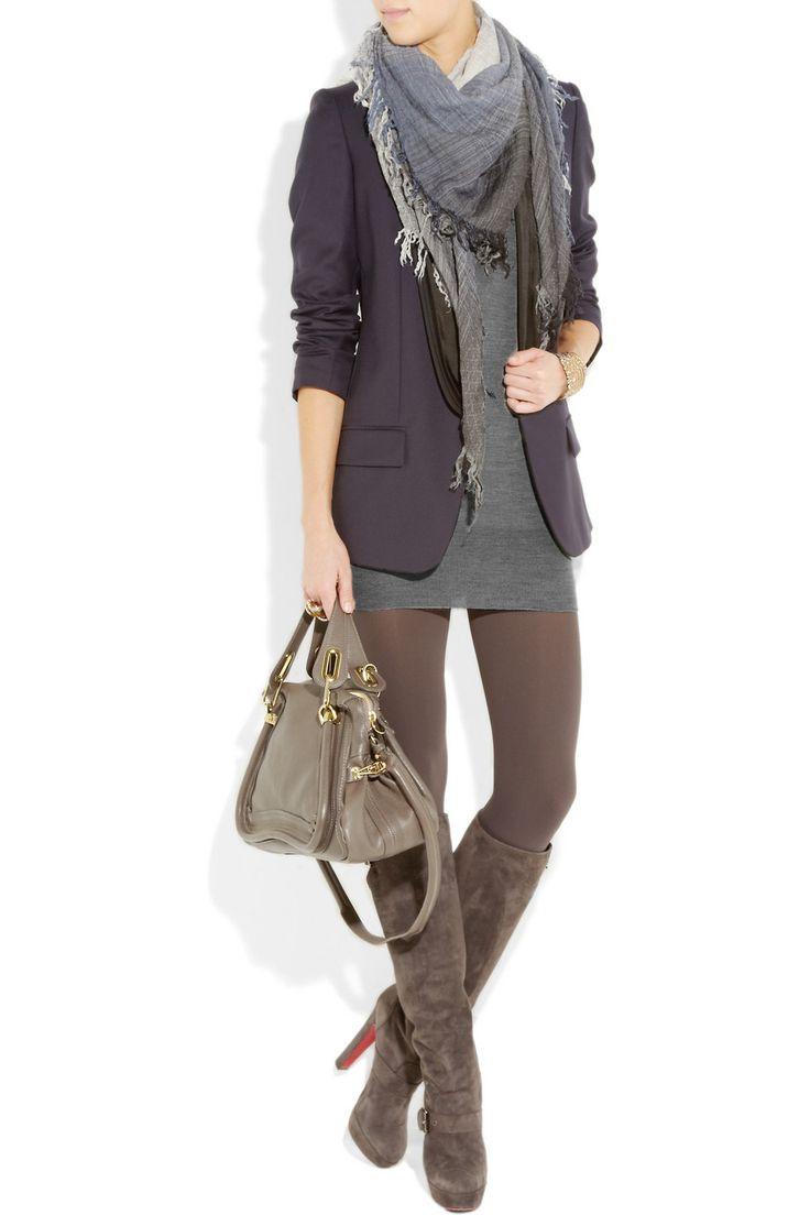 sweater dress, blazer, leggings, tall bootsMinis Dresses, Style, Sweaters Dresses, Fall Outfits, Fall Winte, Blazers, Fall Fashion, Work Outfit, Boots