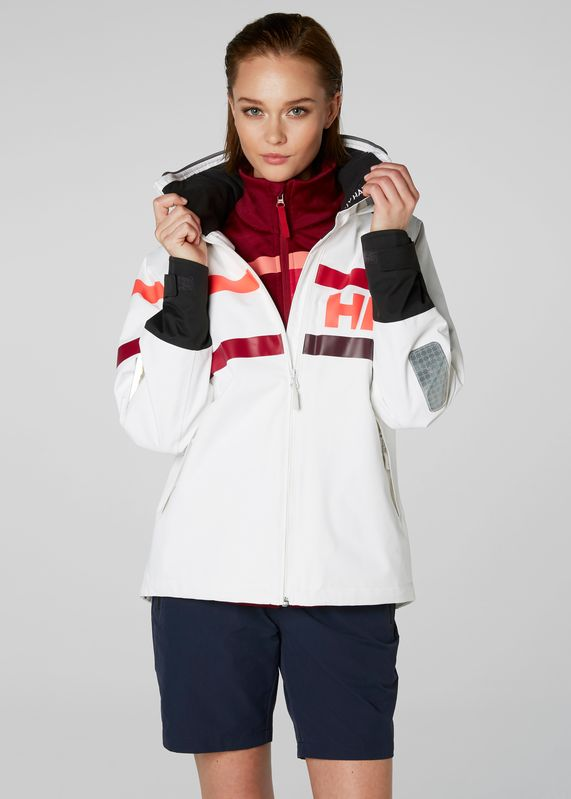 W Salt Power Jacket White - by Helly Hansen. Shop it at mallofnorway.com. Based on the popular and proven Design the Salt Power Jacket features lined HELLY TECH® construction and fleece in the collar and pockets to keep you warm and dry, while adjustable fit features enhance comfort. #hellyhansen #allthingsnorwegian #mallofnorway #norwegianfashion