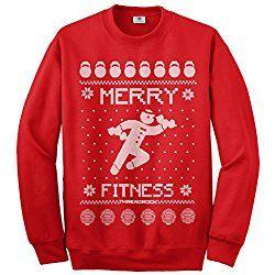 Threadrock Women's Merry Fitness Ugly Sweatshirt M Red