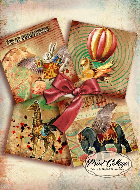 Le Cirque - Printable Collage Sheet for Coasters Greeting Cards Magnets Gift tags 4x4 inch Set of 4 Printable Cards Clip Art 4x4 inch o37 - pinned by pin4etsy.com