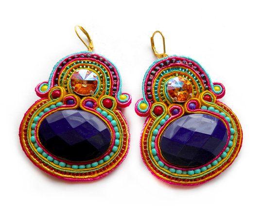 RAINBOW LORIKEET soutache earrings in purple by BlackMarketJewels