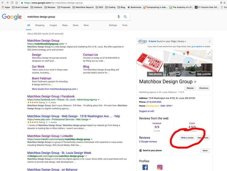 Write A Google Review Matchbox Design Group St Louis Mo Business Pages Google Reviews Writing