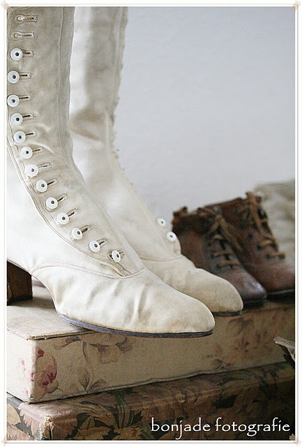 white button boots