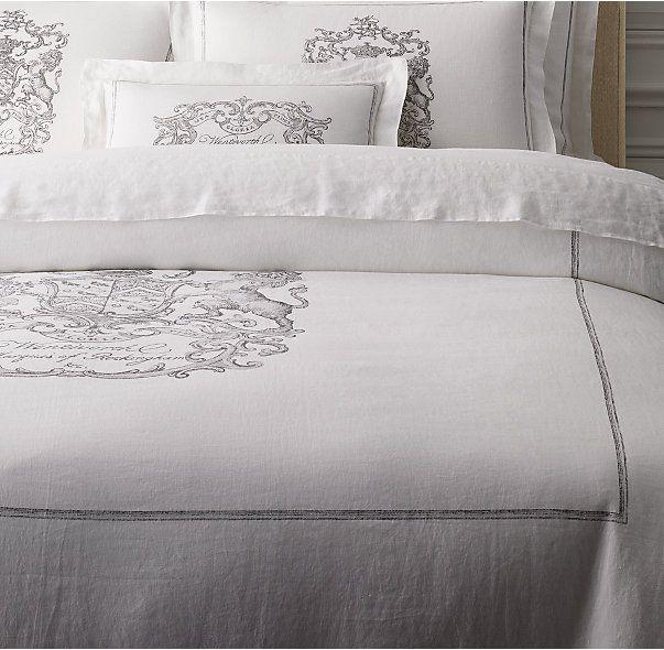 Wentworth crest vintage washed belgian linen duvet cover for Duvet covers restoration hardware
