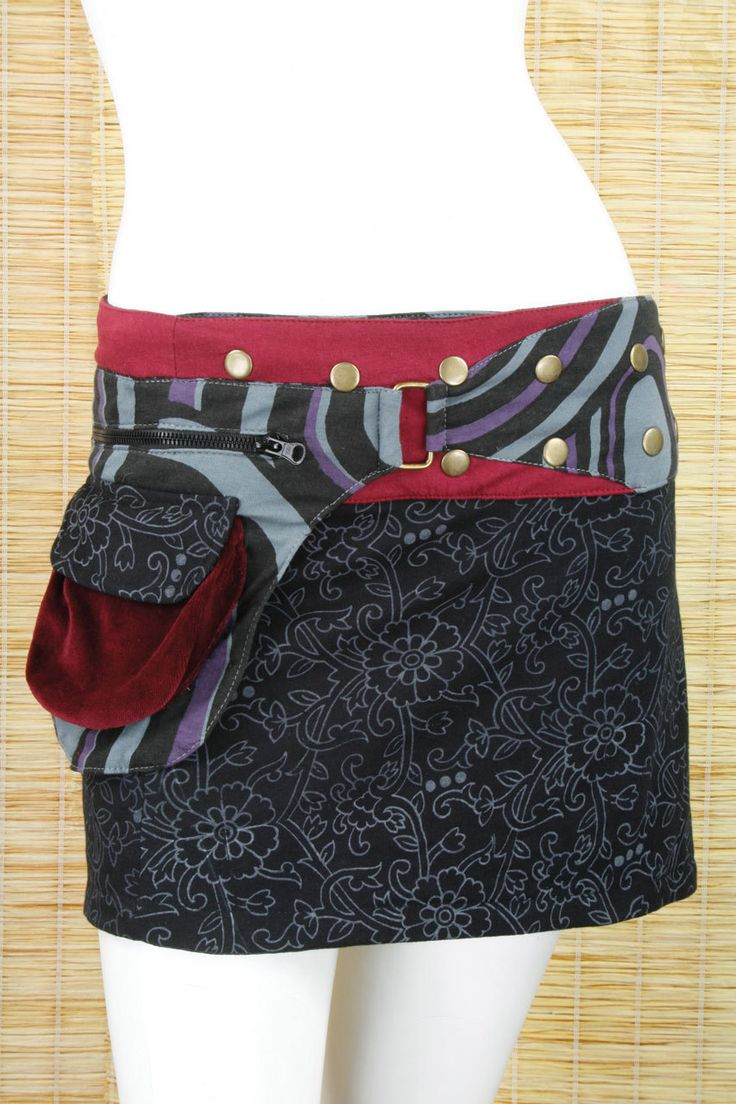 Cotton Printed Wrap Mini Skirt With Attached Pouch