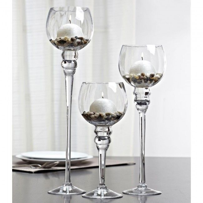 Transform your home with this lovely set of three candleholders.  Just fill them up with candles, pebbles, seashells, glass beads or coloured sand and make these elegant candleholders into a really impressive centrepiece.  Display as singles or a set of three - they will add the perfect finishing touch to your home decor.