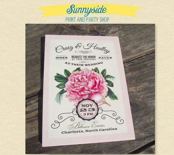 Vintage Floral Peony Wedding Invitation Package - Invite, RSVP and Envelopes - Southern Garden, Botanical