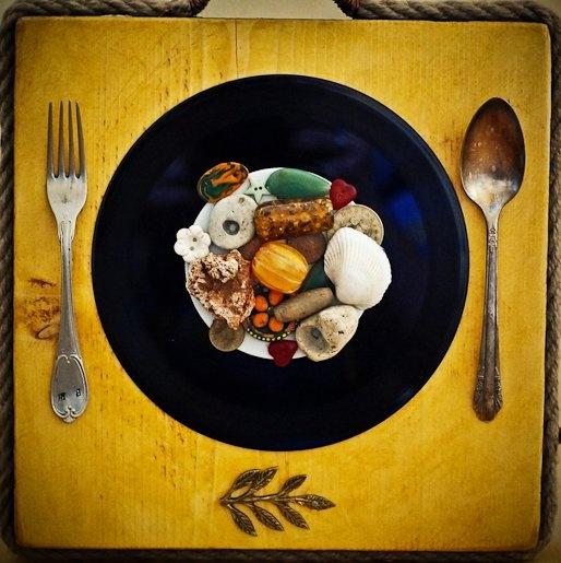 """ Bon appetit ""  - collage on wood -   Artist: Daniel Loagăr"