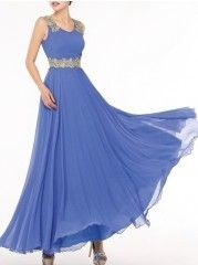Courtlike Slash Neck Chiffon Pure Maxi-dress