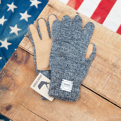 Ragg Wool gloves from Upstate Stock: RAGG-WOOL-GLOVE-WITH-DEER-SKIN-(NATURAL)