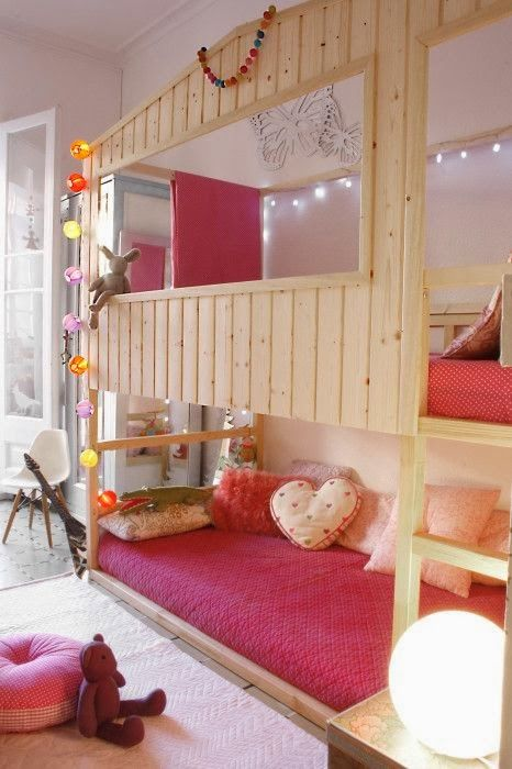 This is awesome.....i love bunkbeds.  i always wanted one as a kid!  mommo design: KURA BED HACKS