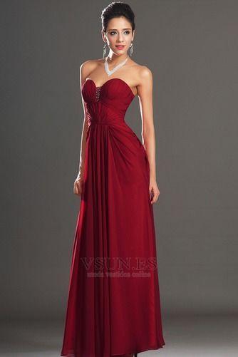 eff27afbc8b07 Vestido de noche Rojo Oscuro Sin tirantes Para Imperio Natural Cremallera