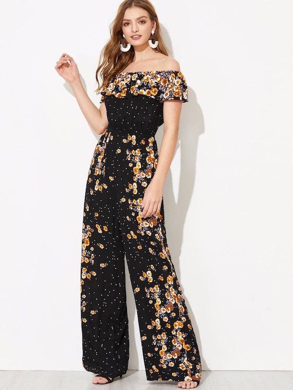 40a4668703b Flounce Foldover Wide Leg Floral Bardot Jumpsuit -SHEIN(SHEINSIDE ...