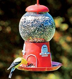Smart idea!  And the Red attracts teh birds too. Recycle those old bubble gum machines into bird feeders!